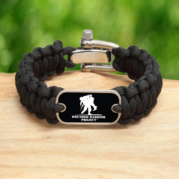 WWP Black 550 Paracord Survival Straps Survival Bracelet